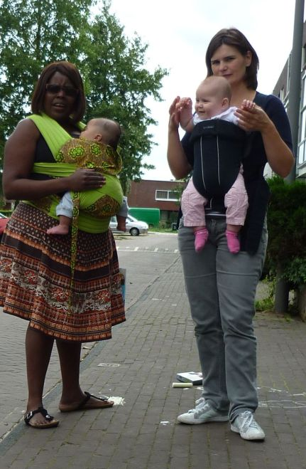 Walking on the streets with my handmade mbereko convincing mothers whom I saw wearing baby's that, if they would try it with an ergonomic carrier, they would enjoy babywearing. Ofcouse its a mission impossible because they had already spend money on it and would want to buy a new carrier. I started giving them for free in exchange for a non-ergonomic carrier. As the years went buy babywearing is almost part of a daily life and we still need to promoot the right way.